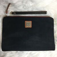 Dooney & Bourke DB Large Wallet Clutch Wristlet Zip Snap Black Suede Leather