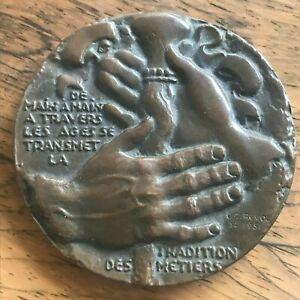 Médaille en bronze Transport de l'Ouest sculpteur GC Quérolle 1951 French Medal