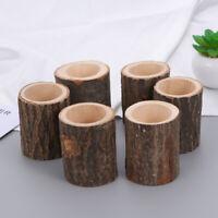 6pcs Wooden Tree Stump Rustic Candle Holder Tea Light Candle Holders Ornament