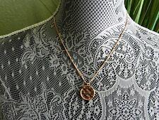 Michael Kors  Heritage Rosegoldtone Monogram Disc Pendant Necklace MSRP $115