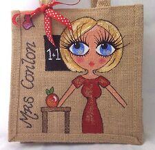 Personalised Hand painted Personalised Best Teacher Jute Mini Gift Bag 20x20 cm