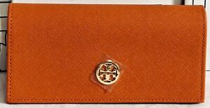 NEW Tory Burch Orange Sunglass Case Eyeglass Pouch Gold Eyeglasses Glasses Logo