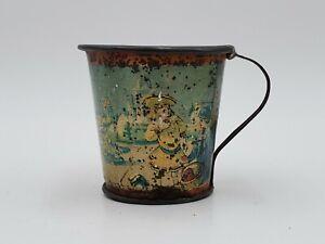 Antique Tin Litho cup, Vintage Teacup tea cup, child's Toy retro Coney Island