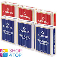 6 DECKS OF COPAG 4 COLOUR 100% PLASTIC JUMBO POKER CARDS CASINO 3 RED 3 BLUE NEW
