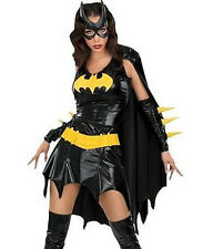 Womens Medium 6 8 10 Batman Pleather Batgirl Costume Dress Halloween Cape Gloves