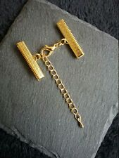 4 sets Gold Plated 14mm Lobster Clasps with Crimp Ends for 30mm Wide Ribbon UK