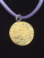 """Henry VIII Half Angel Coin WC47 Gold English Pewter On  18"""" Purple Cord Necklace"""