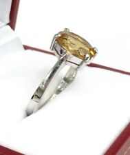 14k Solid White Gold One Stone/ Solitaire Ring Natural Citrine.  Sz 7
