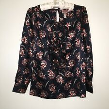 f1e77fa47f NWOT Juicy Couture Silk Cotton Ruffle Blouse Sz 4 Navy Floral Print