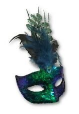 Carnival Green Blue Sequins & Feathers Masquerade Mask Adult Costume Accessory