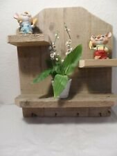 NEW HAND MADE RUSTIC PALLET WOOD MULTI SHELF KEY HOLDER