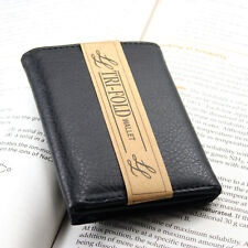 New Mens Trifold Grain Leather Wallet Black Credit Card Id Window License Money