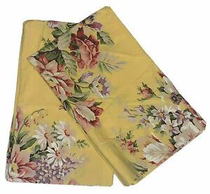 Vintage Ralph Lauren Home Brooke Yellow Floral Pair Standard Pillowcases USA