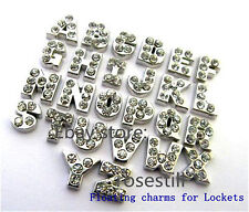 26pcs Fc068 W Crystal Letters A-z Floating Charms for Glass Memory Locket