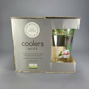 Martha Stewart Winter Jubilee Coolers Glass Set 16 Oz Gibson