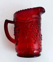 Vintage Red Pressed Glass Water Pitcher Vase Grapes Textured Bas Relief 20 oz