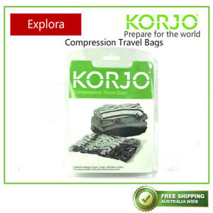 Korjo 3 Compression Travel Bags' Pack - Seal, No Vacuum Required, Space Saver