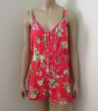 Hollister Womens Floral Romper Size Large Jumper Coral Red Ruffles