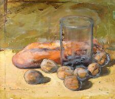 Peinture ancienne par René BRÉDIER (XX) - Nature Morte au Pain dédicacé 1939