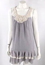 Delias Sun Dress Small Gray White Sleeveless Ruffled Crochet Drop Waist Womens