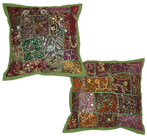 Indian Patchwork Cushion Cover Vintage Embroidered Cushion Cover Throw Pillow