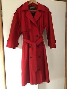 Vintage Anne Klein II Women's Red Raincoat Size 10, detachable wool lining