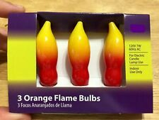 Set of 3 Vintage Style Orange Flame Light Bulbs 120 Volt 7 Watt