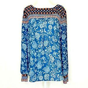 LOFT Women's Medium Long Sleeve Blouse Blue Orange White Floral Button Cuffs