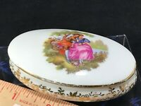 Vintage LIMOGES FRANCE Porcelain Courting Couple oval Trinket Box hand painted