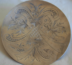OLD PERSIAN  84 SILVER HAND ENGRAVED RAISED BASE  PLATE  -- 168 grams