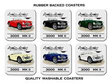 AUSTIN  HEALEY  3000  MKII   MK2    Roadster  SET OF  6   RUBBER DRINK  COASTERS