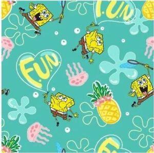 Sponge Bob Pineapple Fun Nickelodeon Cotton Quilting Fabric 1/2 YARD