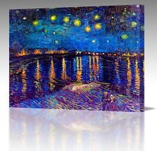 "16x12"" Inch Vincent Van Gogh Starry Night Over Rhone France Canvas Art Print"