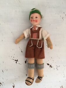 """Antique 30's German Pheasant Doll 9"""" BISQUE Composition Head Wool Clothing"""