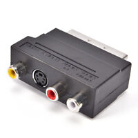 SCART Adaptor AV Block To 3 RCA Phono Composite S-Video With In/Out Switch AB