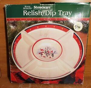 """Royal Seasons SNOWMAN RN2 5 Part Divided Relish Dip Platter, 14 5/8"""", New NIB"""