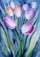Original Aquarell Bild Tulpen Blumen Botanik Pflanzen 🌱Wandbild Kunst Wanddekor
