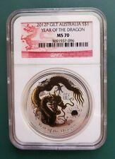 2012 Australia 1 oz 999 Silver Dragon Gilt Gilded Coin - NGC MS 70 !!!!