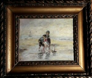 Plage, Normandie, vers 1920. Huile sur toile. Marine -  Enfants jouant à la page