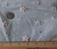 Vintage Swiss Hand Embroidered Florals On Cotton Net c1920~Dolls,Design Projects
