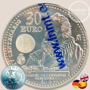 30 € Euros 2016 Miguel de Cervantes Moneda de Plata 18 Gr. 0.925 Spain S/C Unc