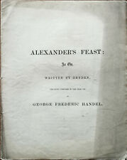 George Frederic Handel Alexanders Feast An Ode by Dryden Antique Libretto Bookle