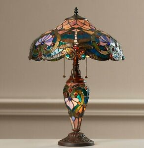 "Tiffany Style Table Lamp Victorian Brown Blue Dragonfly Stained Glass Shade 24""H"