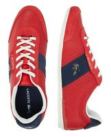 Lacoste Men Shoes Oreno 0120 Red Navy Leather Fashion Casual Sneakers NEW