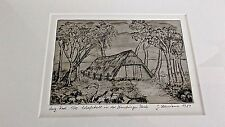 Original G Lehmann Etching / Radierung, Sheep Barn in the Luneburger Heide, 1984