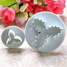 2Pcs Decorating Plunger Holly Leaf Cake Tools Fondant Cookie Mold Cutter Mould