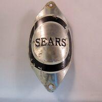 Used Sears  Bicycle Silver & Black Head Badge For Vintage Bikes