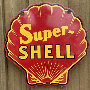 "VINTAGE SUPER SHELL GASOLINE PORCELAIN SIGN AMERICAN OIL GAS PUMP RED RARE 12"""