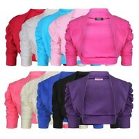 Girls Bolero Shrug Party Cardigan Cotton Short Ruche Sleeve Kids New 2-14 Years