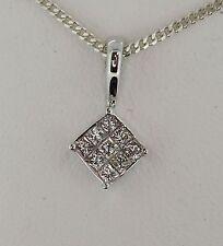 Diamond MYSTERY SET pendant 9 STONE PRINCESS CUT 9 CARAT GOLD DROP